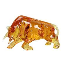 Chinese FengShui Crystal Liuli Art Red Glass Bull Sculpture For Decoration