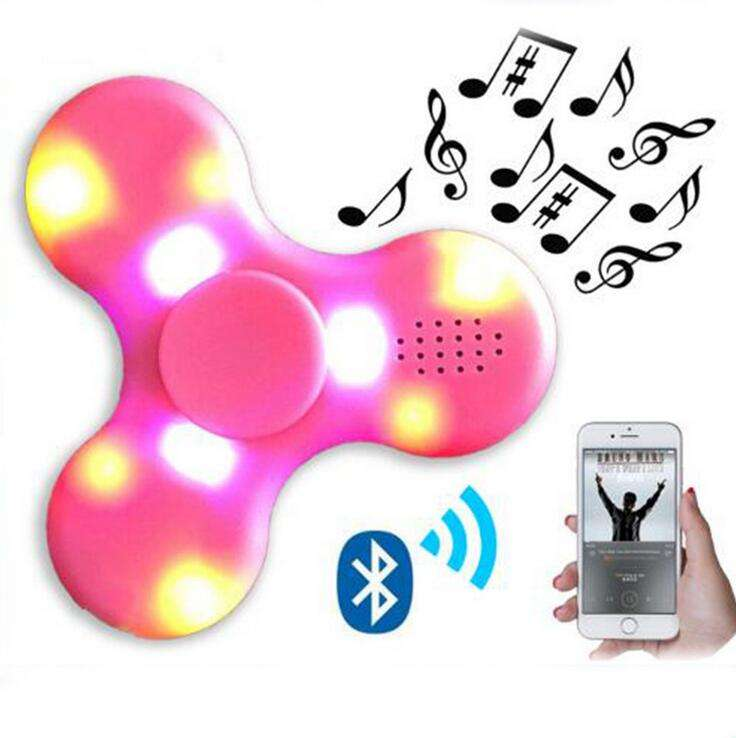 LED BT Speaker Musical Hand Tri Fidget USB Charging Fingertip Gyro Spinner Anti Stress Relief Kids Adults Toys Gifts