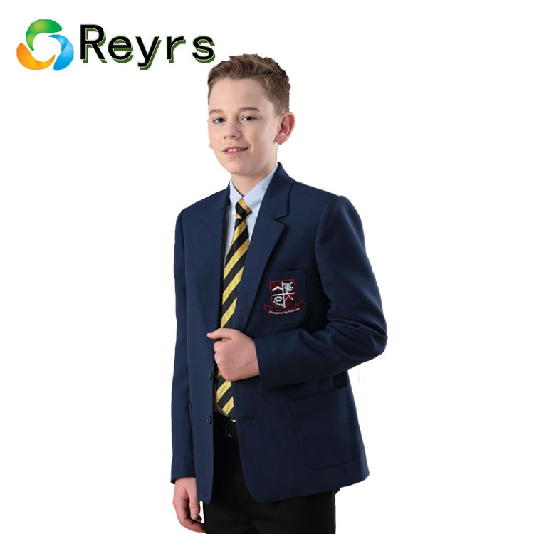 Reyrs recycled fabric make modern school uniform designs boys blazers kids blue slim fit wool school blazer