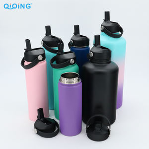 32 oz Double Wall Insulated Thermos Flask With Straw Lid