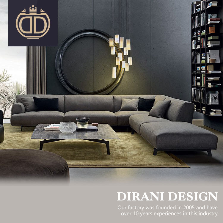 Nordic modern furniture dark grey 9 seater sofa set for common area l shape modern fabric sofa set with steel legs