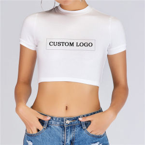 Groothandel Vrouwen Fashion Custom Logo Print Shirt Sexy Dames Zomer Plain Tight Crop Tops