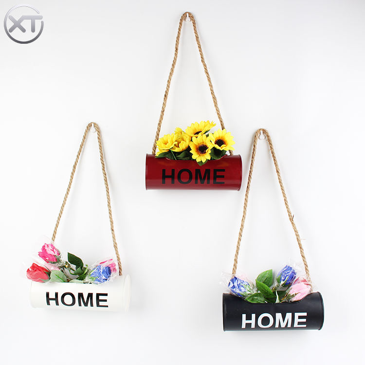 Decorative Flower Pots And Metal Hanging Planter Black Garden Balcony Hanging Wall Shelf