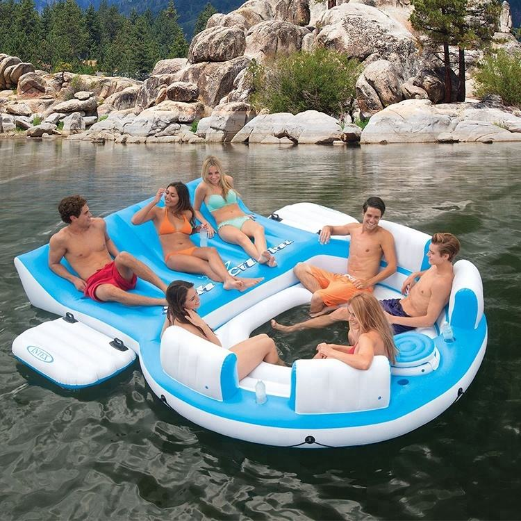 summer toy for 6-Person Giant Inflatable Island Raft with Built-In Coolers