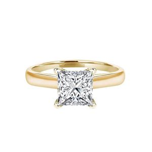Princess cut diamond cz solitaire yellow gold engagement ring 14 karat gold wedding rings
