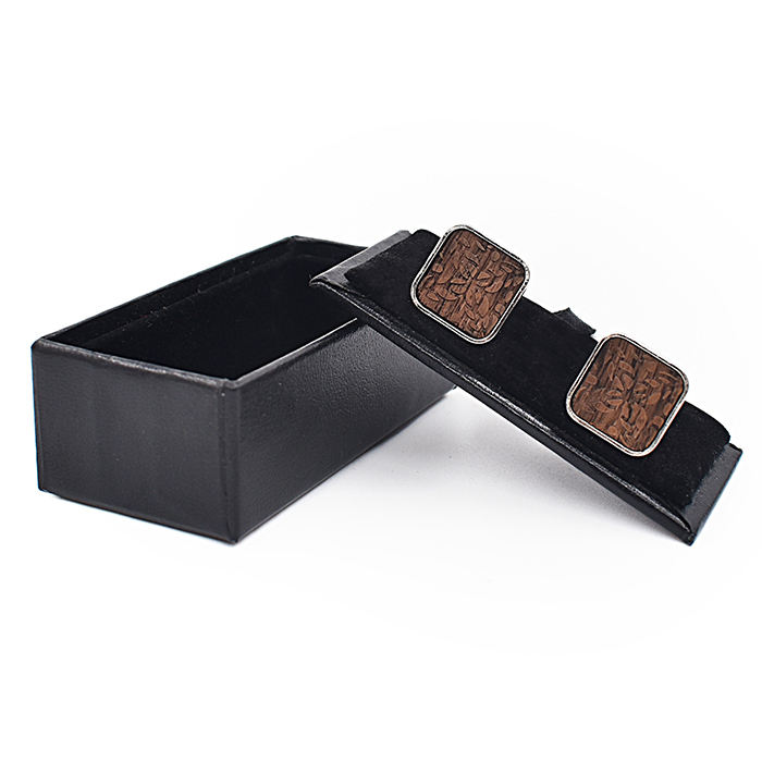 black walnut square cufflink wood with gift box