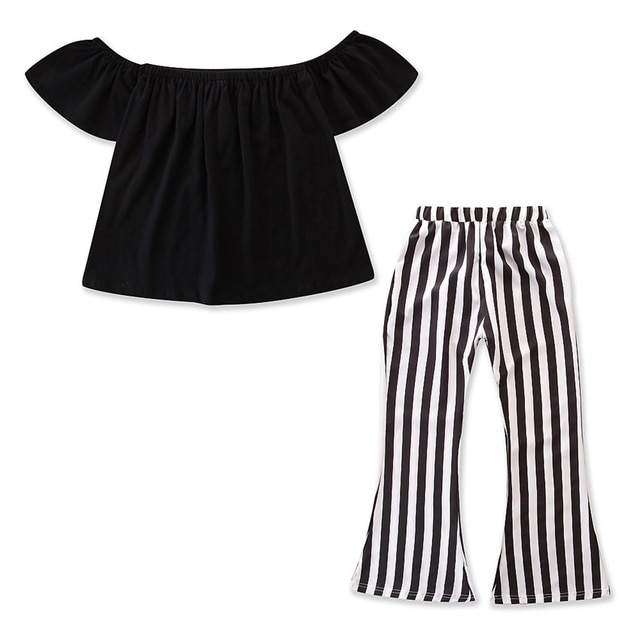 Family matching clothing sets mom and daughter off shoulder ruffles top and wide Leg striped pants sets women sets