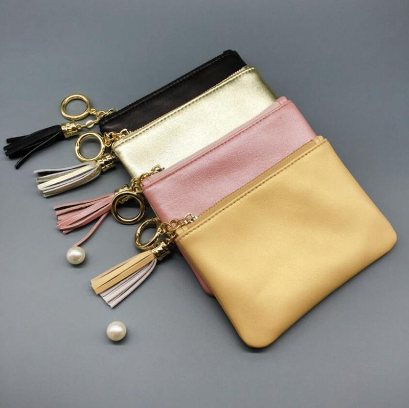 Dreamtop DTE255 fancy mini lady card wallet goat skin leather coin purse fashion coin case with tassels