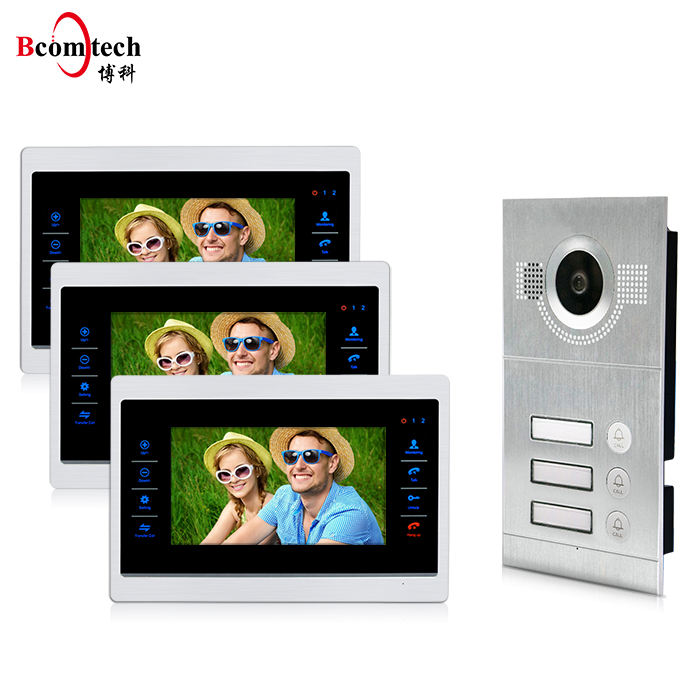 High Quality 3 Apartment Doorbell Intercom System Waterproof Record Memory 2 Wire Video Intercom