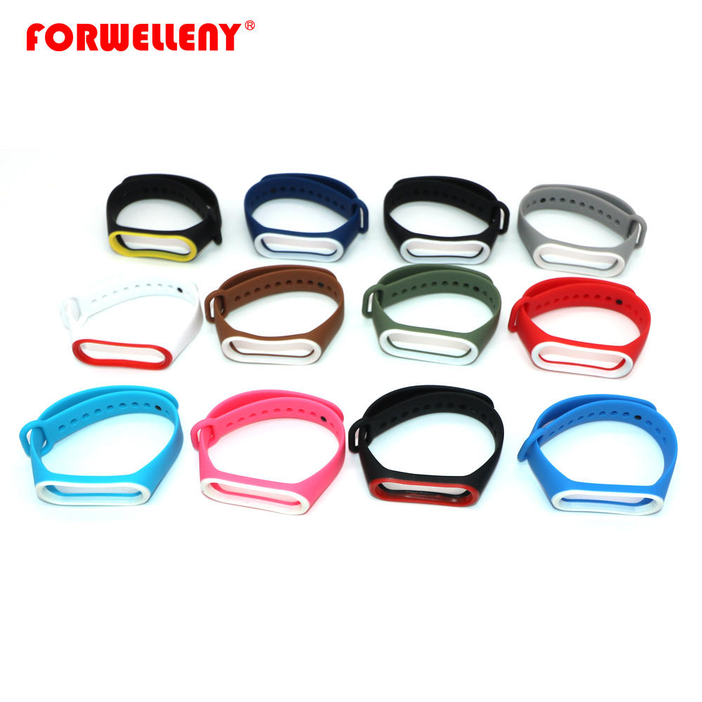 Double color mi band 3 Mi band4 strap silicone wrist strap replacement Strap for xiaomi mi band 3 smart bracelet varied 12 color