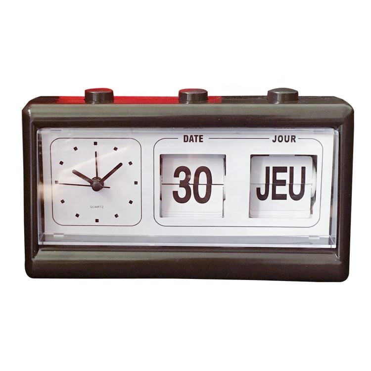 Decorative vintage manual flip date desktop perpetual calendar clock for elderly,retro mechanism flip clock