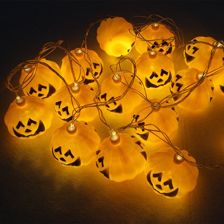 Hot Sale 10 Buah Halloween Plastik Labu Dekorasi Pesta dengan Lampu LED
