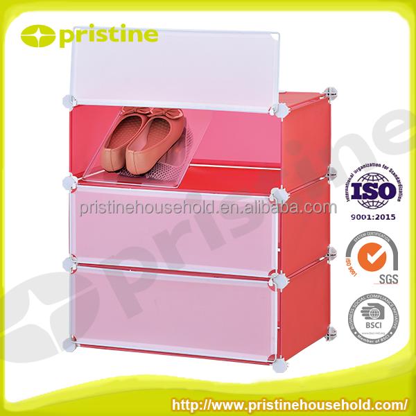 3 Cubes En Plastique chaussures de stockage avec porte