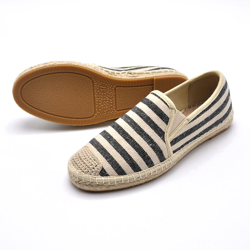 Canvas jute insole striped women's custom logo casual shoes