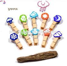Hot small wooden weather decoration clip made in China