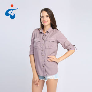 Factory supplier wholesale garment dyed ladies long sleeve basic blouses with two pockets