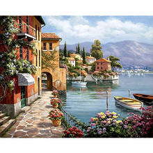 Wholesale Price Painting By Numbers Kit Oil Canvas Harbor Picture With Frame, Kits Image Drawing On Canvas by Hand Coloring Arts