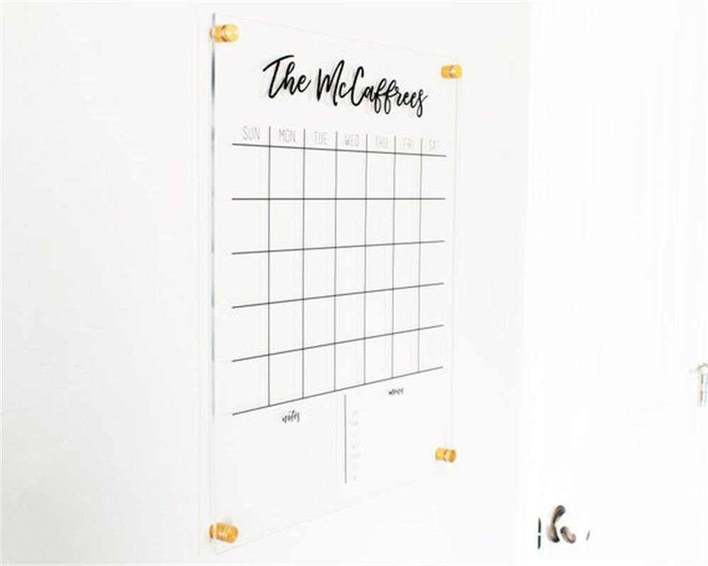 Clear Acrylic Floating Calendar With Standoffs, Wall Mounted Acrylic Advertising Billboards