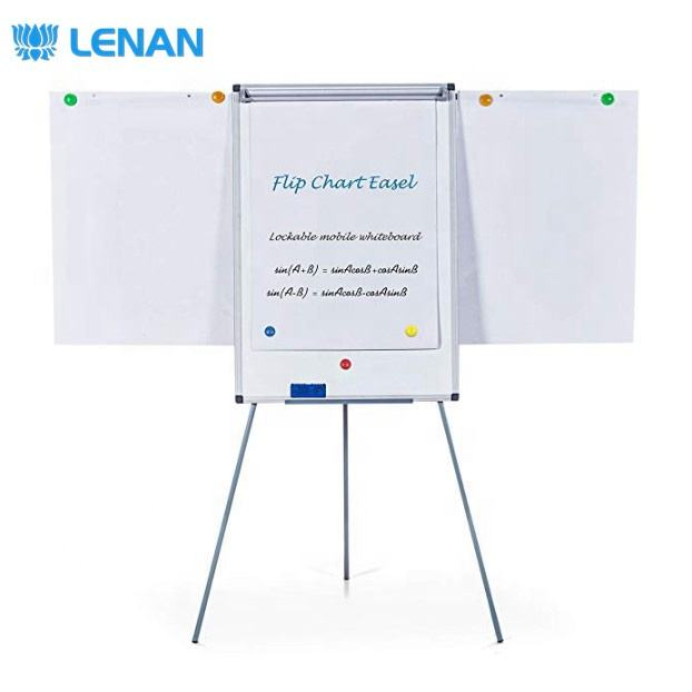 New Design Height Adjustable Magnetic Flipchart Whiteboard Flip Chart Board with Tripod Stand Pad Clamp Extended Display Arms