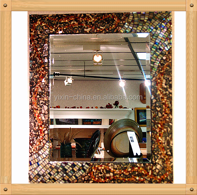 wall decor tempered mosaic amber glass tile frame mirror for wedding or dressing table