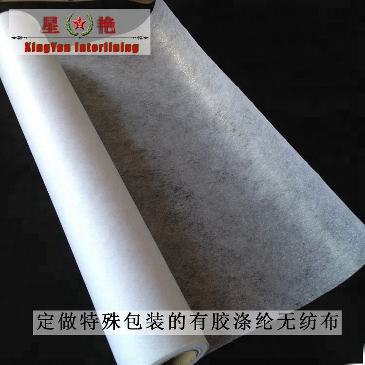 coating nonwoven fabric wholesale 25g Polyester interlining chemical bond nowoven fabric main use for garment