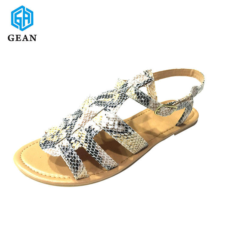 Top Fashion New Arrival Laser Cut PU Leather Branded Model Plain Ladies Flat Sandals In China Lady Sandal