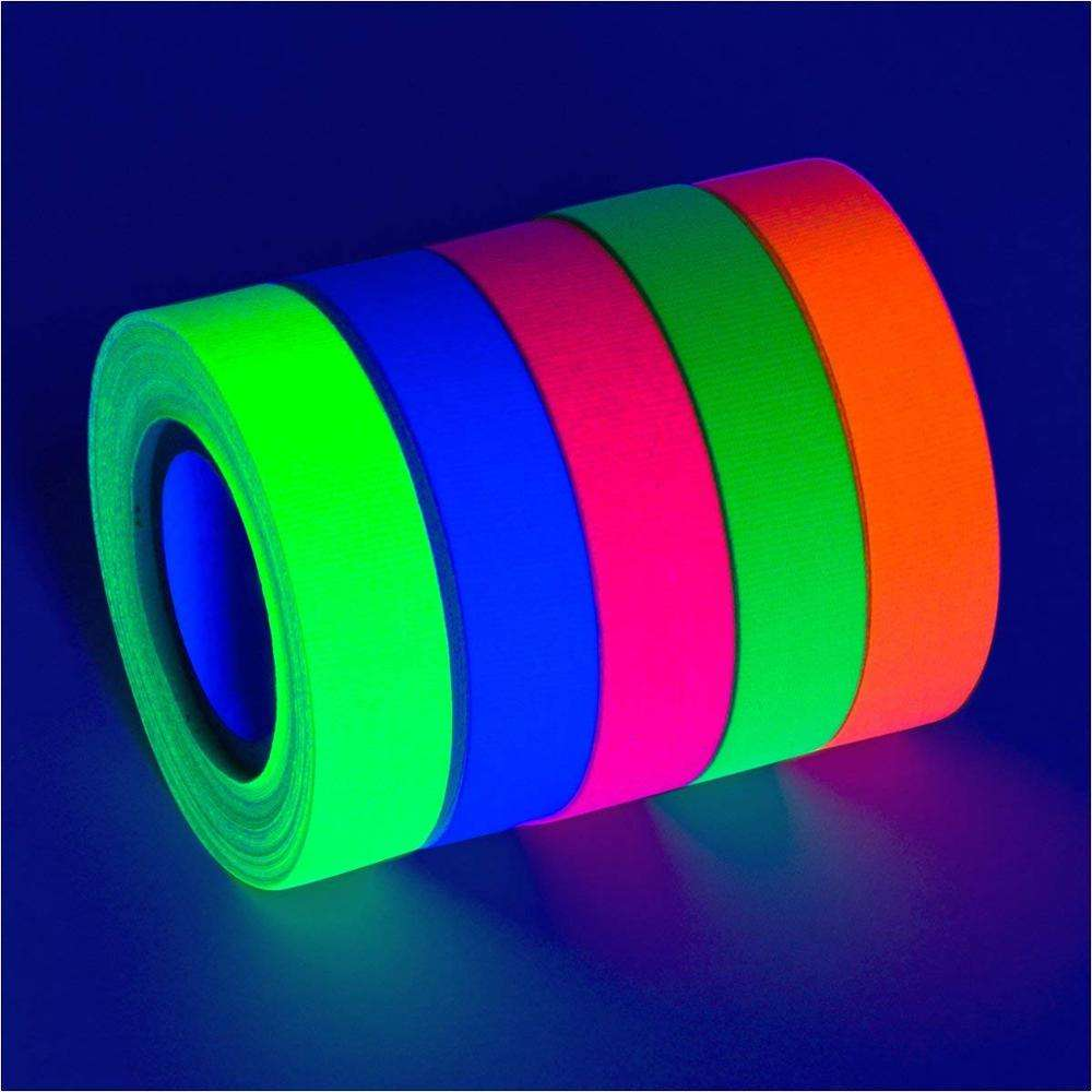 colorful fluorescent UV blacklight neon gaffer tape with various color