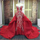 Luxury Sweetheart Lace Beaded 2 in 1 Bridal Mermaid Red Wedding Dress With Detachable Train