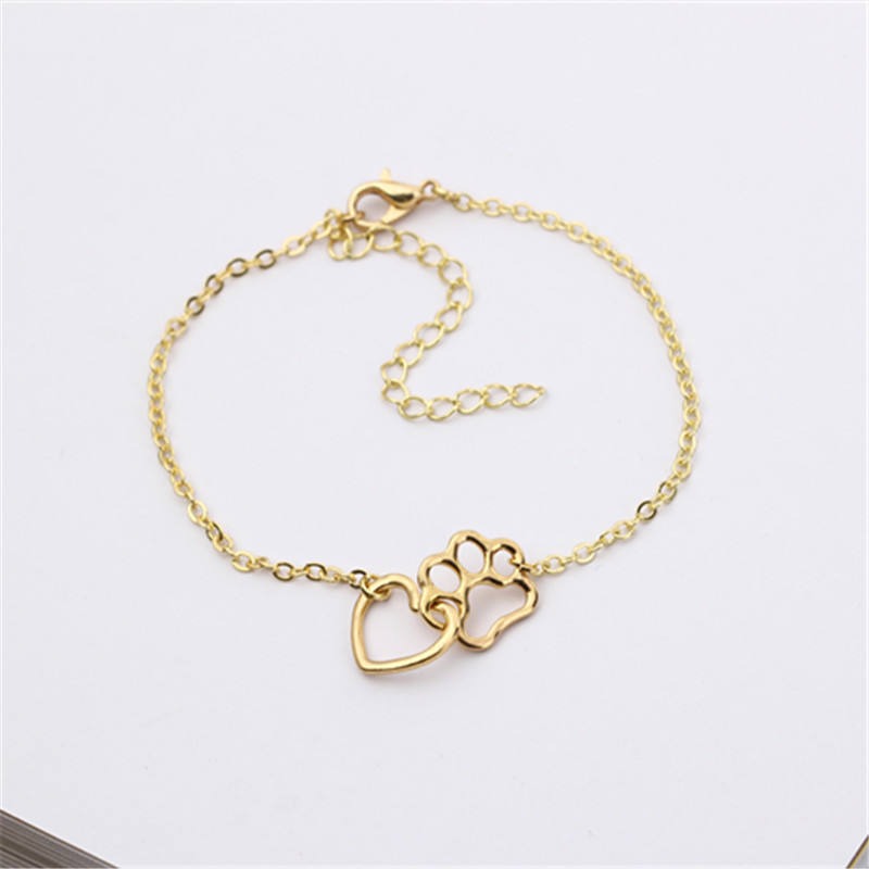 Euramerican style new design alloy jewelry love heart dog claw footprint gold&sliver bracelet jewellery wholesale factory price
