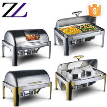 Hotel kitchen equipment price list buffet catering gel fuel rectangular roll top chafer, stainless steel chafer set for sale