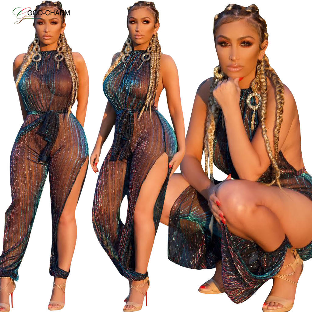 *GC-86970905 2020 new arrivals Wholesale African Sexy women club wear in-stock Bestsale baggy transparent mesh fishnet jumpsuit