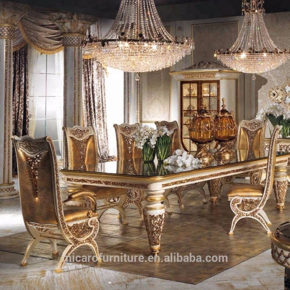 2016 new design baroque style brass and Wood solid wood classic italian dining room sets