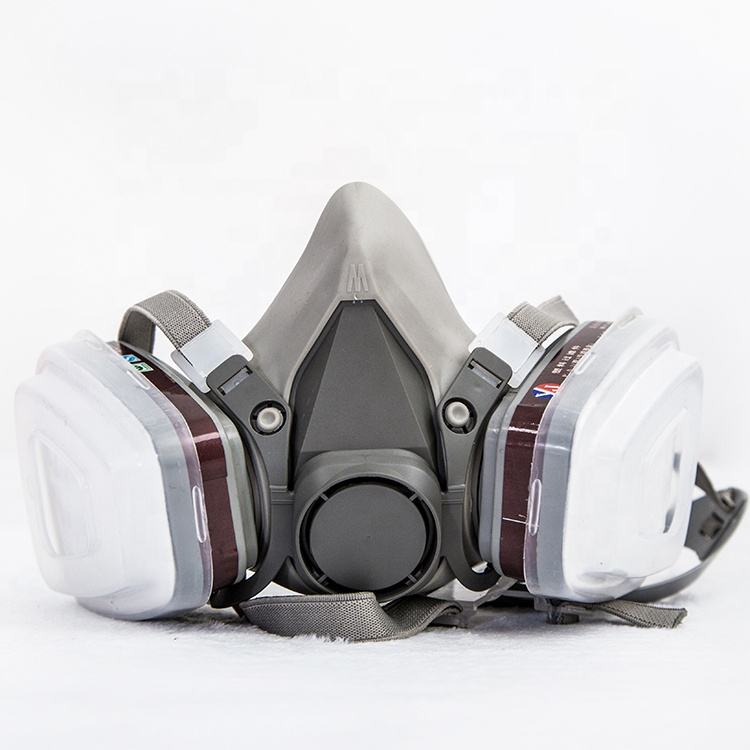 2019 factory half face gas mask chemical respirator with double filter