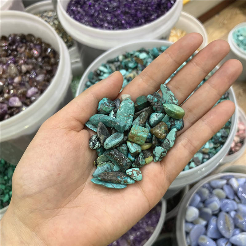 High quality Green turquoise crystal Tumbled stone Rock crystal Gravel for decoration for sale