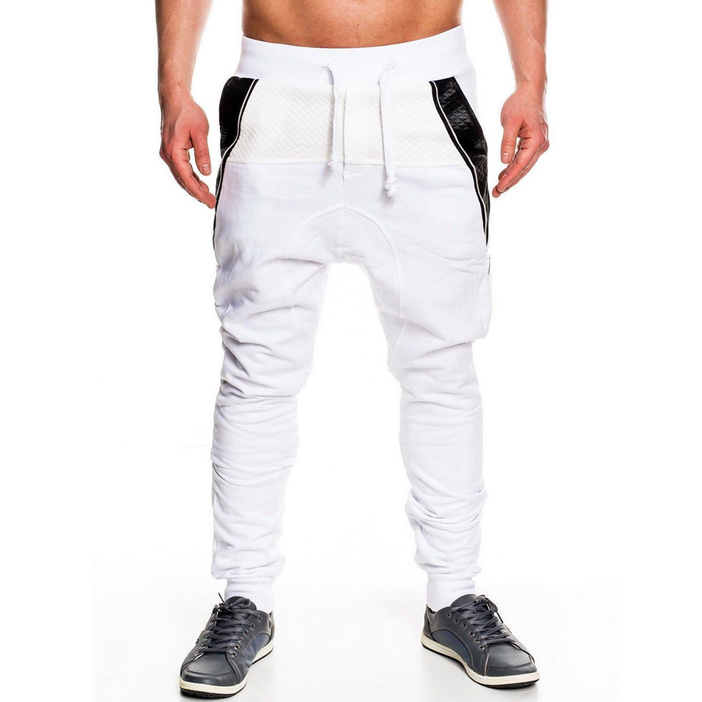 Custom Men's Sport Pants French Terry Match Leather And Zipper Sweatpants