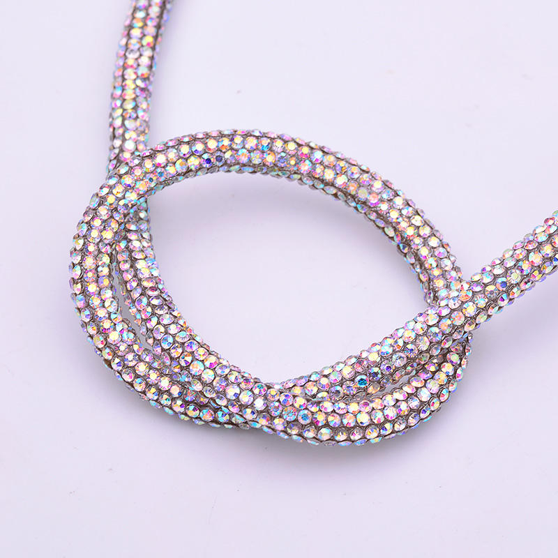1 Meter Crystal AB Tube Crystal Cord Strass Trim Banding Glass Rhinestones Chain For Bracelet Jewelry Crafts
