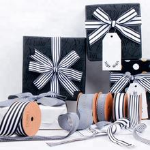 HOT SALE Gift Box Wrapping Ribbon Black and White Striped Grosgrain Ribbon