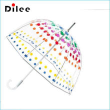 Clear Bubble Polka Dots Stick Rain Umbrella