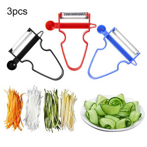 3 pcs/set Magic Slicer Shredder Peeler Julienne Cutter Peel Stainless Steel Blade Zesters Kitchen Tools Magic Trio Peeler Set