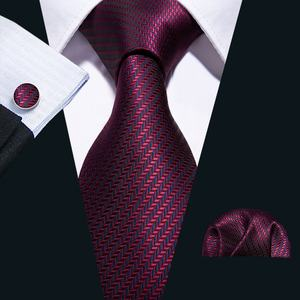 Made In China 100% Mode Gewebt Streifen Wein Rot Blau Mens Silk Krawatte Set