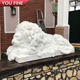 Hand Carved [ Lion Statue ] Marble Statues Hand Carved White Marble Sleeping Lion Statue