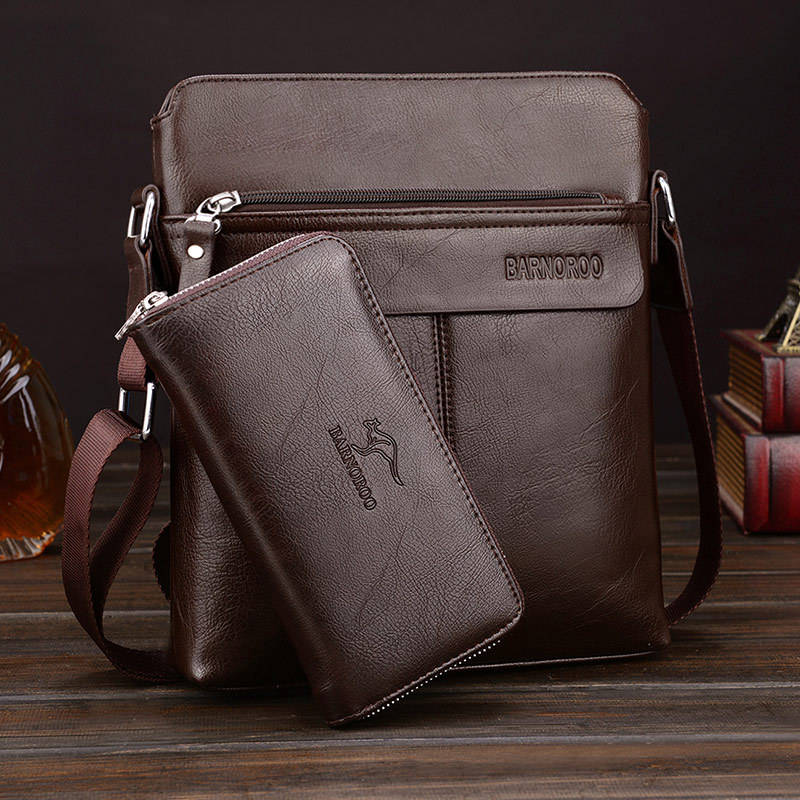 Wholesale Man Casual Travel PU Single-shoulder Business Messenger Bag with wallet