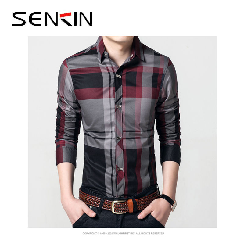 Spring summer new men's long-sleeved shirt cotton business casual slim printed shirt
