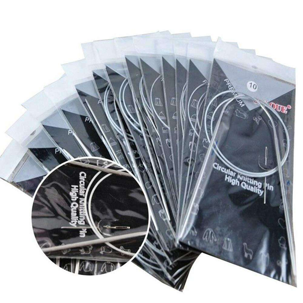 11 Pcs Round Stainless Steel Circular Ring Weaving Pins Knitting Needles Hook Set