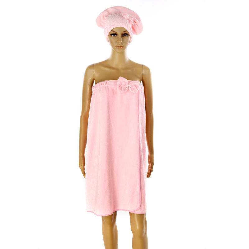 home trends microfiber hair cap towel pink wearable bath towel dress