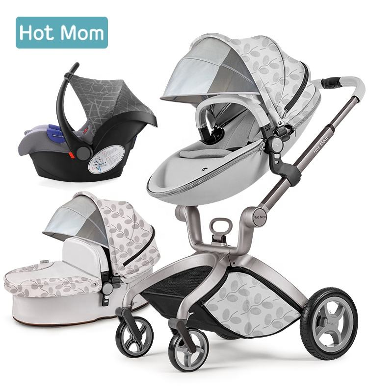 Hot Mom Baby Stroller 3 in 1 Pram 2018 New Color Pushchair Travel System Accessories