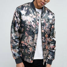 men custom woven 100%polyester satin floral bomber jacket