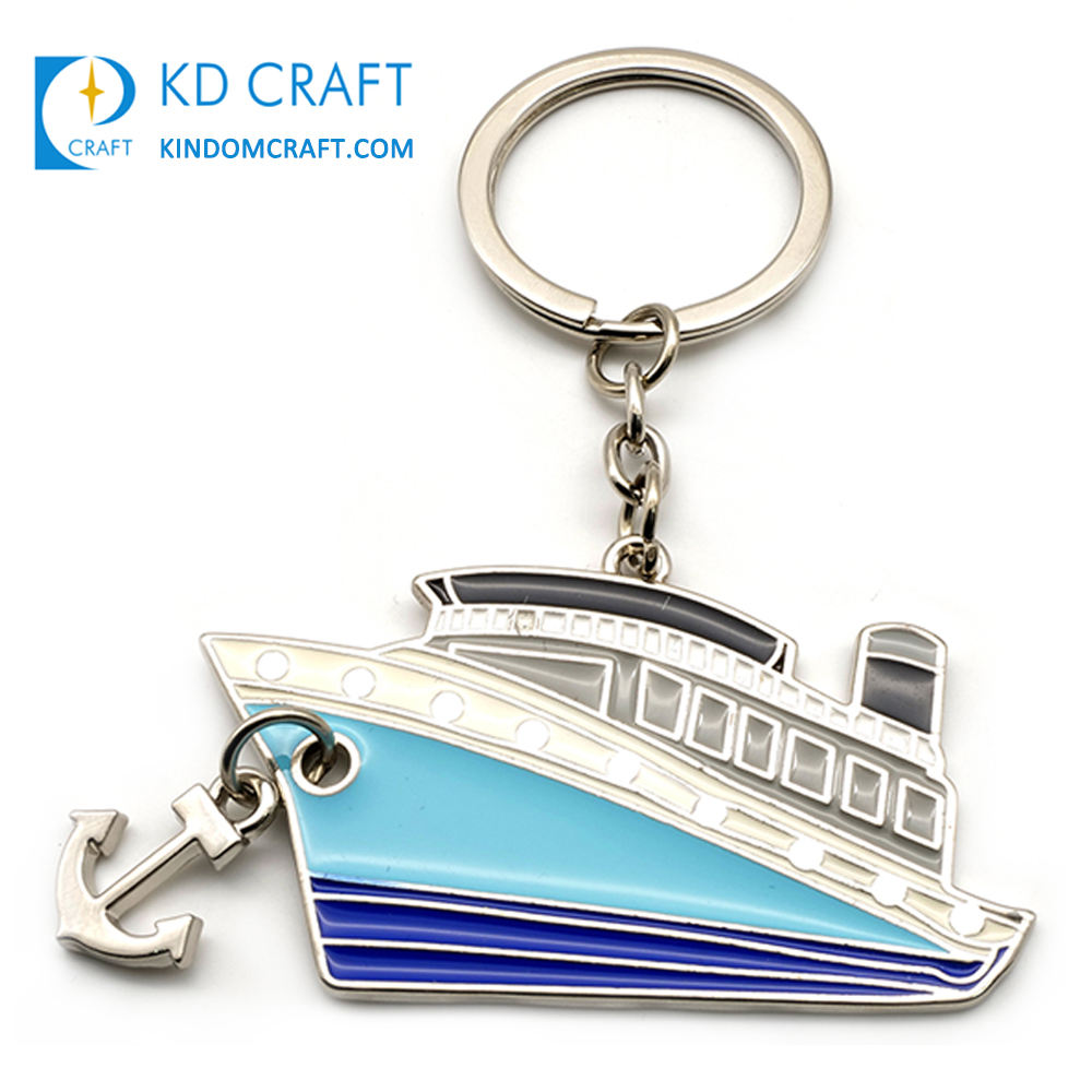 Fashion design personalized custom metal brass enamel nautical boat shaped novelty bottle opener anchor keychain for souvenir
