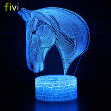 7 Colors Changing Gradient Fashion Animal Horse Head Led Nightlights 3D LED Desk Table Lamp Lamps Home Bedroom Party Decoration