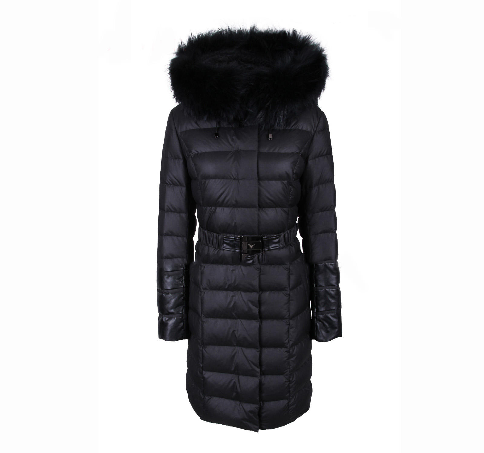 Women's winter down puffer coat with hooded real fur